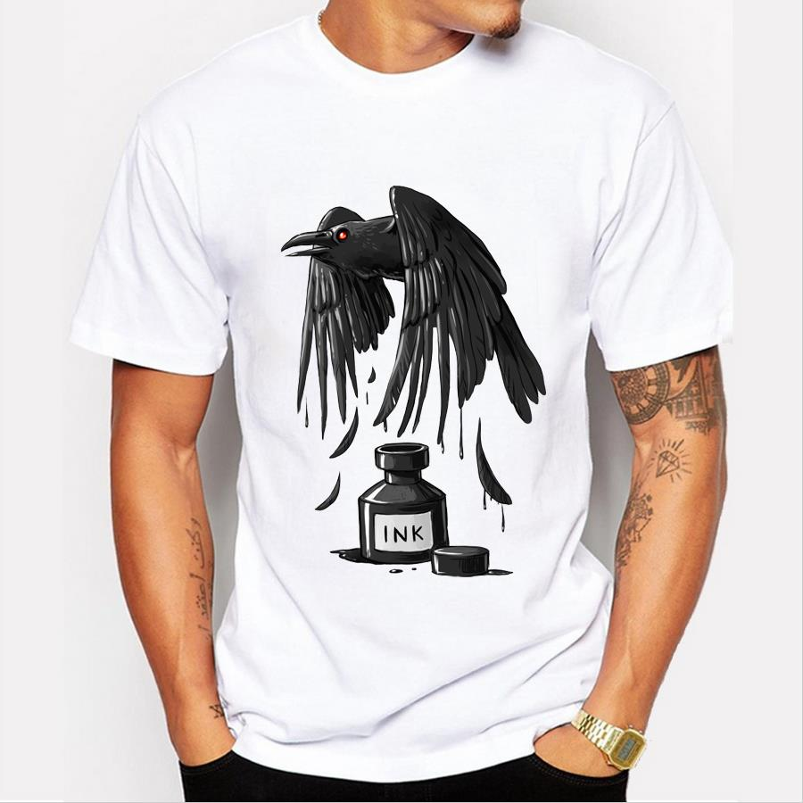 Ink Raven men customized t-shirt Ink Dragon retro printed Men fashion tops Punk style fashion hipster design cool tee shirts