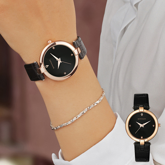 SANDA Fashion Golden Ladies Watch Women Leather Wrist Watches Diamond Gold Clock