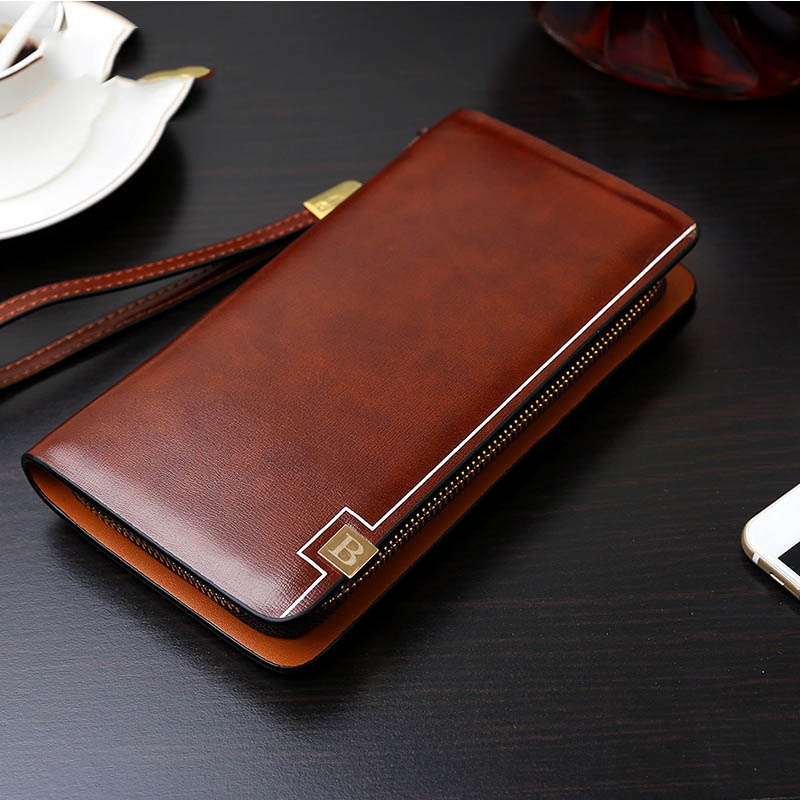 New Fashion men wallet famous brand Men's Clutch Wallets Leather Men Purse High Quality Zipper Bags Designer Business Handy Bag 2016 famous brand new men business brown black clutch wallets bags male real leather high capacity long wallet purses handy bags
