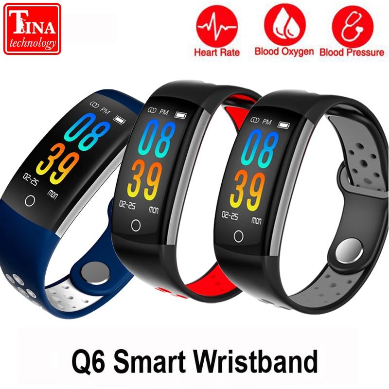 Original Q6 Smart Bracelet HR Fitness Tracker Wristband SleepTracker Waterproof IP68 Activity Tracker Smart band for Android IOS