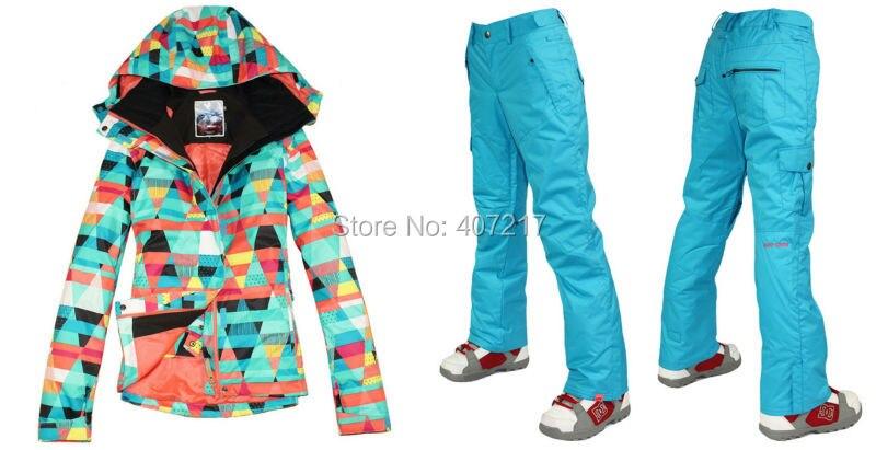 Prix pour 2014 femmes mesdames combinaison de ski snowboard costume de neige vêtements de ski coloré diamant veste, plus un pantalon bleu haute qualité XS-L