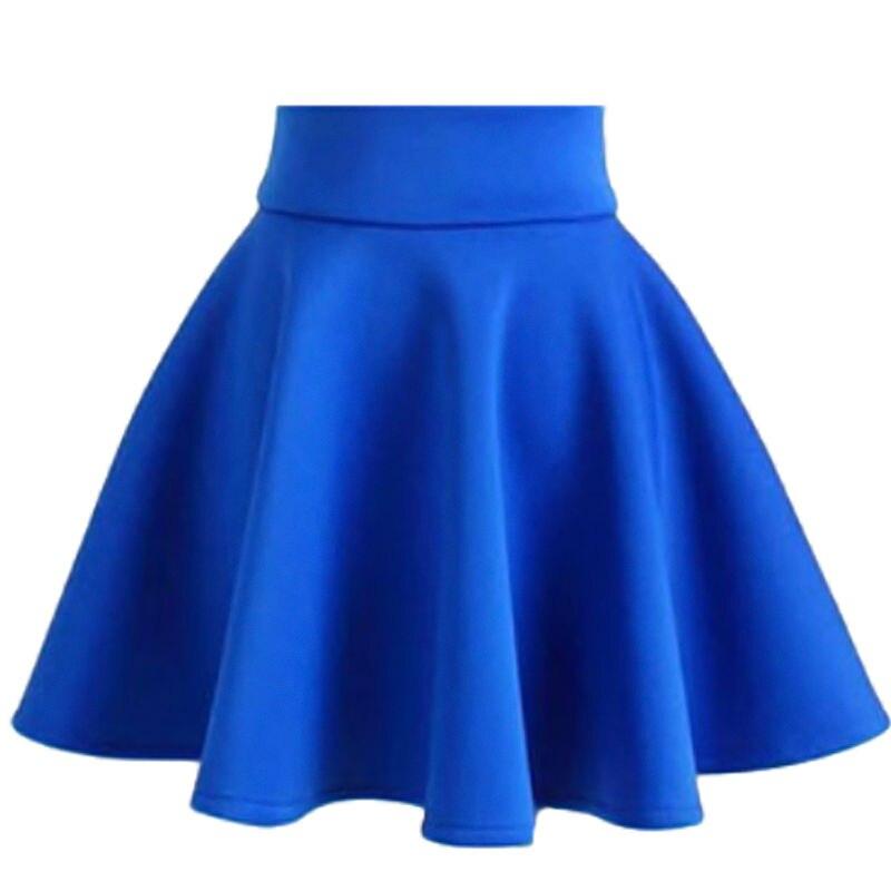 57c1f38a1dd7c Womens Skirts Summer Fashion Vintage Stretch High Waist Plain Skater Skirt  jupe femme Black Flared Pleated Skirt