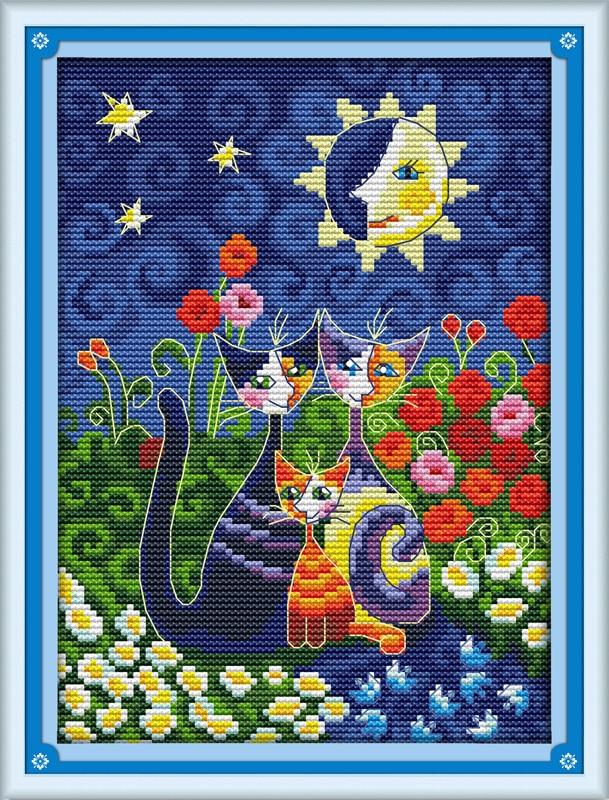Gatos debajo del sol Punto de cruz DMC Punto de cruz Punto de costura - Artes, artesanía y costura