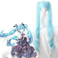 Anime Miku Hatsune Cosplay Wig Miku Cosplay Ice Blue Wigs Heat Resistant Synthetic Halloween Party Women Miku 120CM Cosplay Wigs