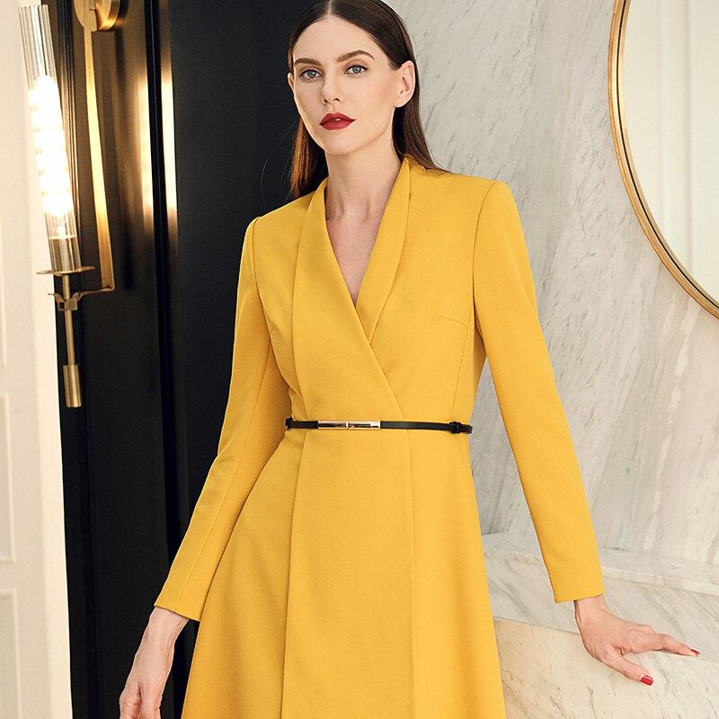 Élégante Revers Européenne Vêtements Robe jaune Grand Mode 2019 Manches À Qualité Noir Kohuijoo Femmes Designer Haute Dames rouge Piste Longues a7BqxZ8
