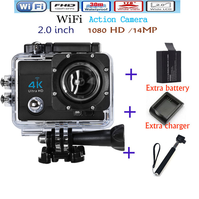 4K ultra HD Camera Wifi Sport Action Camera 2.0 Inch 16MP 1080P 170 Wide Angle Lens 4k HD Waterproof Sport Cam Free shipping