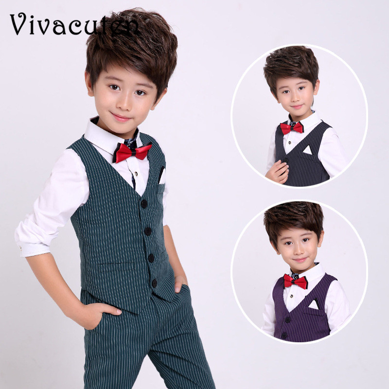 19a5a3d56ded2 Flower Boys Wedding Suit Gentleman Kids Boys Vest Pants 2pcs Formal  Birthday Party Children Autumn Spring