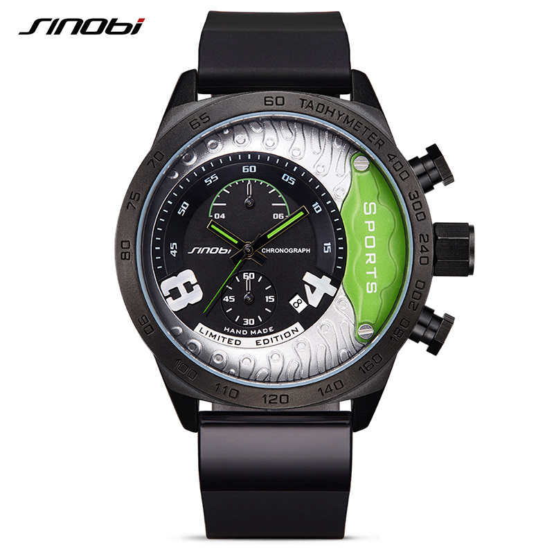 SINOBI Sport Mens Watches Top Brand Luxury Clock Male Rubber Waterproof Chronograph Quartz Military Wrist Watch Men saat 2017 megir sport mens watches top brand luxury male leather waterproof chronograph quartz military wrist watch men clock saat 2017