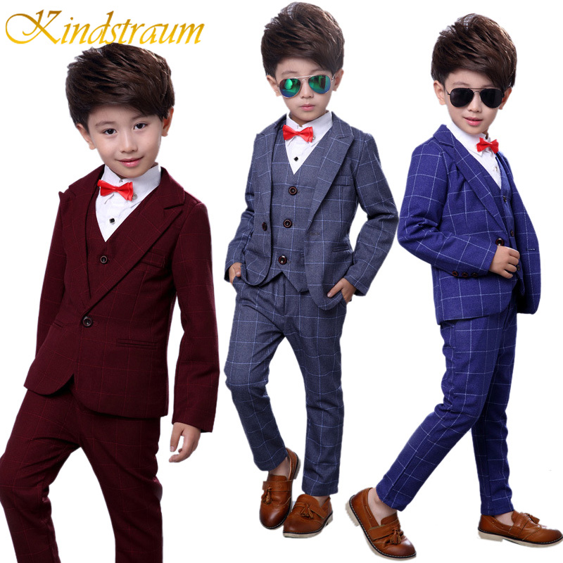 Kindstraum 4pcs Boys Suits for Weddings Cotton Plaid Blazer+Vest+Pants+Shirt Kids Clothing Sets Children Formal Suits, MC727 kindstraum school trend boys formal clothing suits shirt vest pants tie 4 pcs set children sets party