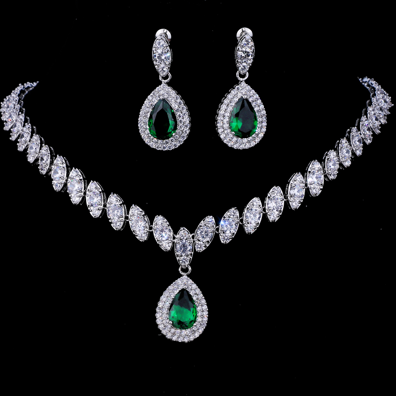 Emmaya Simulated Bridal Jewelry Sets Silver Color Necklace Sets 4 Colors Wedding Jewelry Parure Bijoux Femme 5