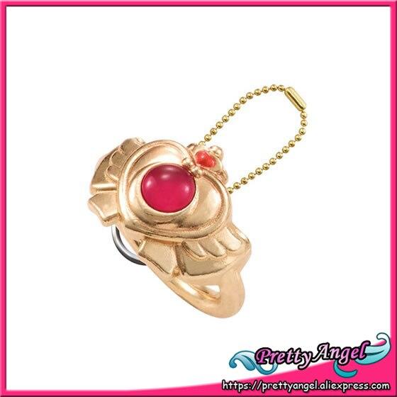 Original Bandai Sailor Moon 20th Anniversary Die-cast Ring Charm Gashapon - Crisis Moon Compact original bandai shokugan sailor moon butterfly ribbon charm key chain sailor moon