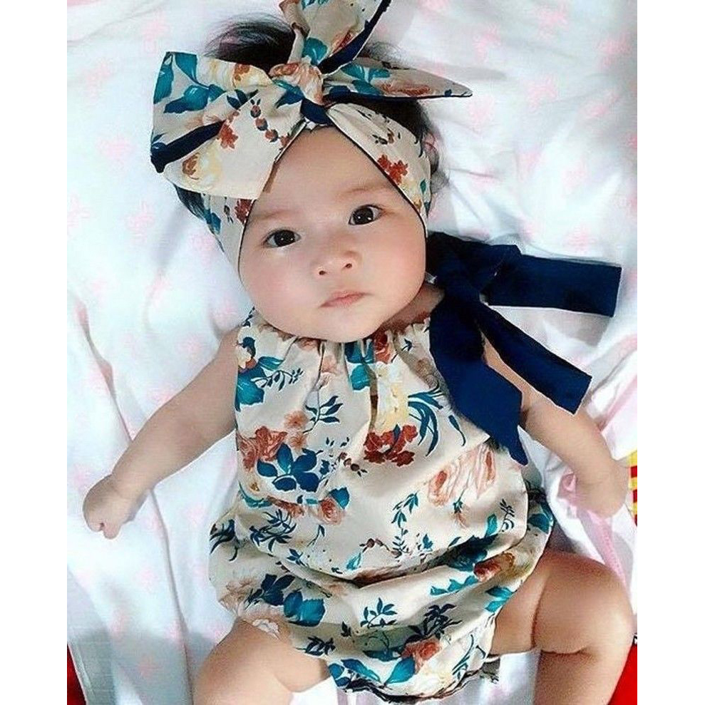 0-18M Newborn Baby Girl Clothes Sleeveless Halter Romper Backless Jumpsuit Floral Print Outfit Sunsuit Cute Children Clothing