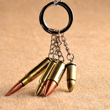 1 pcs New Fashion Creative Gift Keyring Trinket Antique Bronze Plated Bullet Keychain Metal Key Chain Souvenir(China)