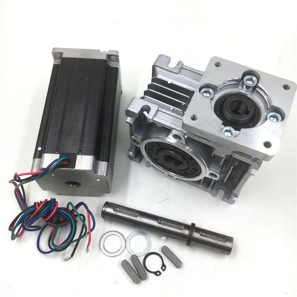 Nema23 Worm Geared 30:1 Stepper Motor 2ph L112mm 4.2A 4 Leads Gearbox Speed Reducer for CNC Router planetary nema23 geared stepper motor l112mm gearbox ratio 30 1 90nm stepper speed reducer cnc router engraver
