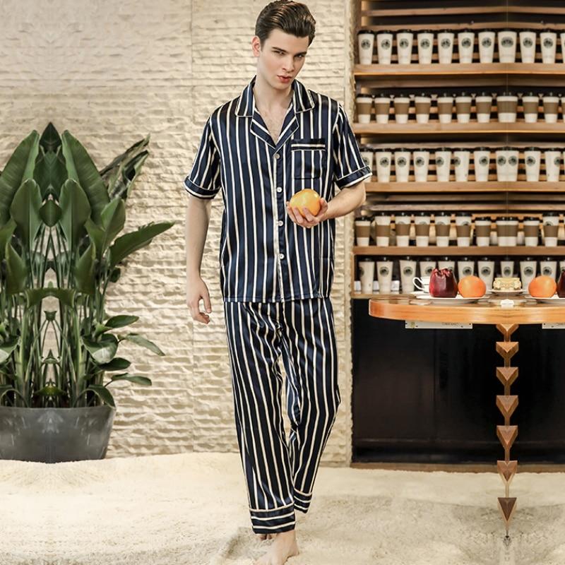 SSH0177 2018 New Brand Pyjamas Striped Short Sleeves Full Long Pants Pajama Set High Quality Satin Silk Sleepwear Men Pajamas