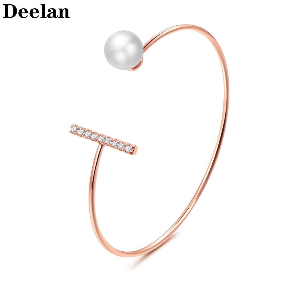 DEELAN charme armbänder für frauen Mode hochzeit kristall imitation perle schmuck Mädchen rose gold einstellbare zirkon armband geschenk