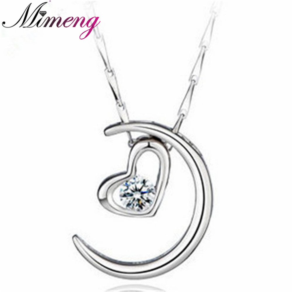 AAA 100% Pure 925 Sterling Silver Moon Represents My Heart