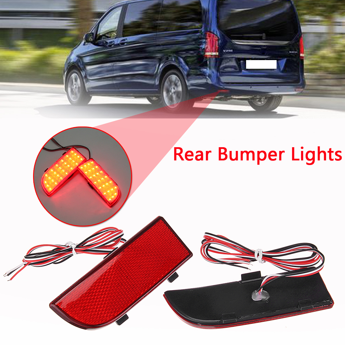 US $16 74 23% OFF|2Pcs LED Rear Bumper Reflector Light Brake Fog Tail Light  Foror Mercedes Benz vito viano W639 2003 2014-in Car Light Accessories