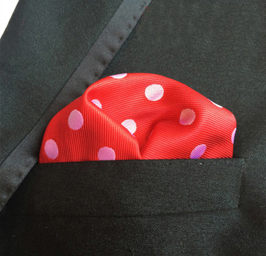 25x25cm Top Fashion Pocket Square Red With White Dots Handkerchief