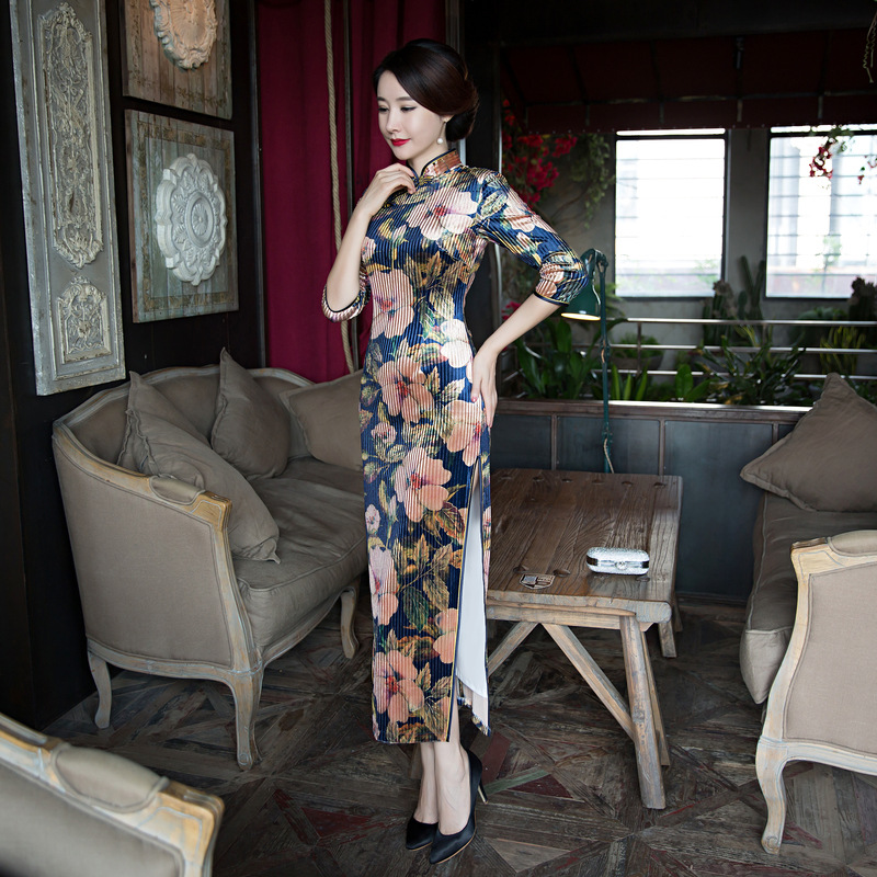 New 2018 Vintage font b Women s b font Velour Long Cheongsam font b Fashion b