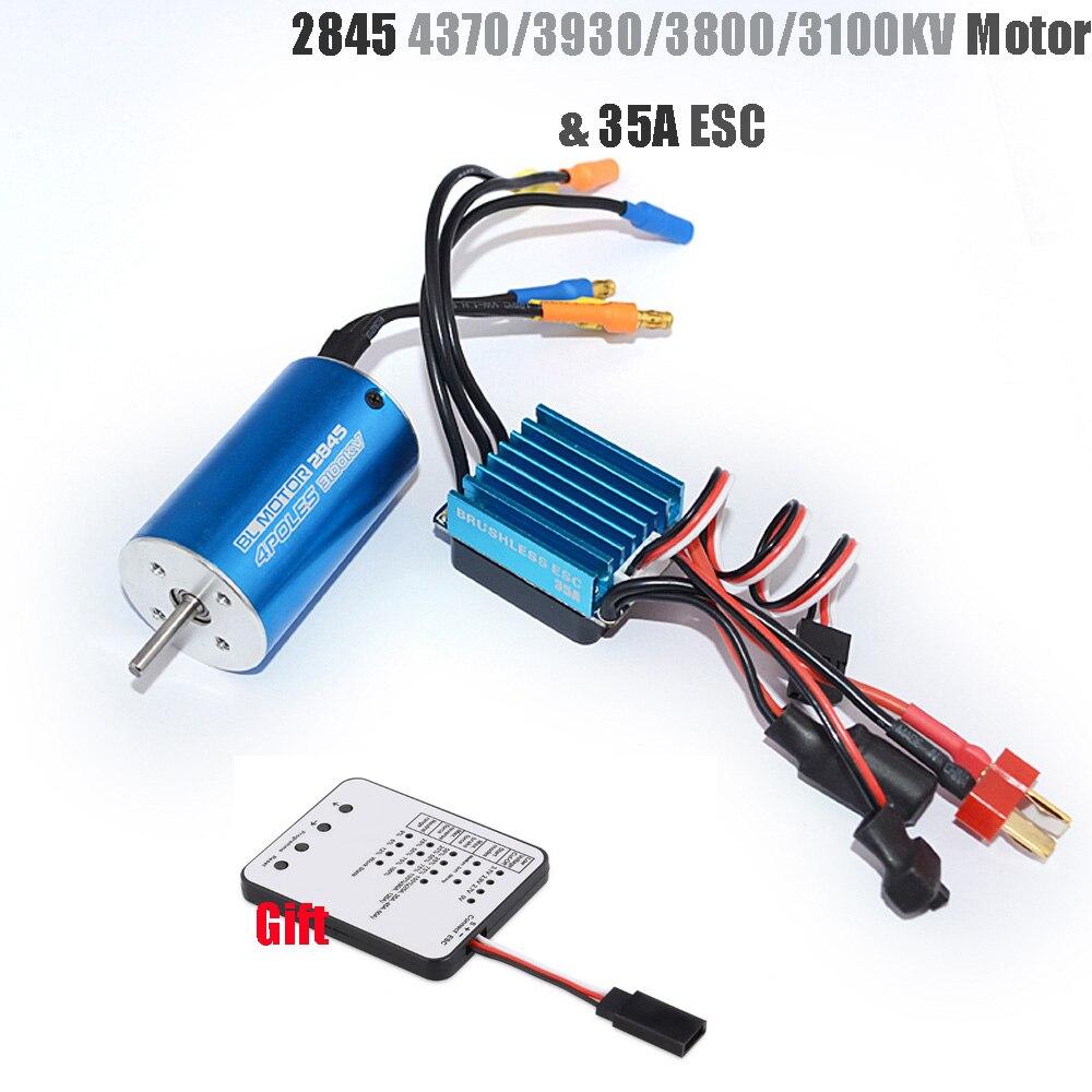 Rc 2845/4370/3930/3800/3100KV sin escobillas de Motor + 35A sin escobillas ESC + Tarjeta de programa para 1/14 1/16, 1/18 coche RC