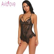 Halter Sheer Floral Lace One Piece Teddy Body Suit