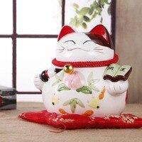 Rzemiosło Sztuki dekoracji Wnętrz Ceramiczne duży kot piggy ozdoby ślubne Szczęście kot sklep otworzył Wyposażenia Domu pomysły prezent urodzinowy