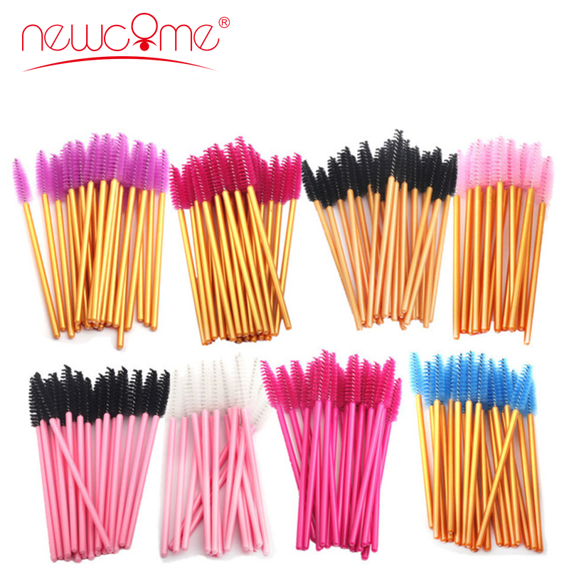 NEWCOME 50pcs One-Off Disposable Eyelash Brush Mascara Makeup Applicator Wands Eyelash Extension Makeup Brushes Make Up Brushes
