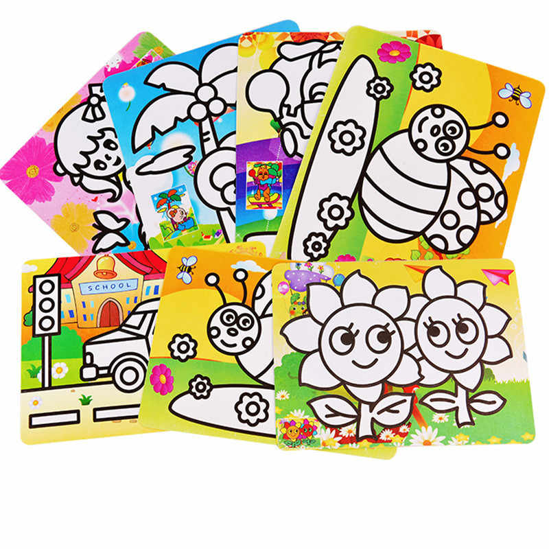1Pc Cartoon Kids DIY Color Sand Painting Art Creative Drawing Toys Sand Paper Art Crafts Toys for Children 12*16