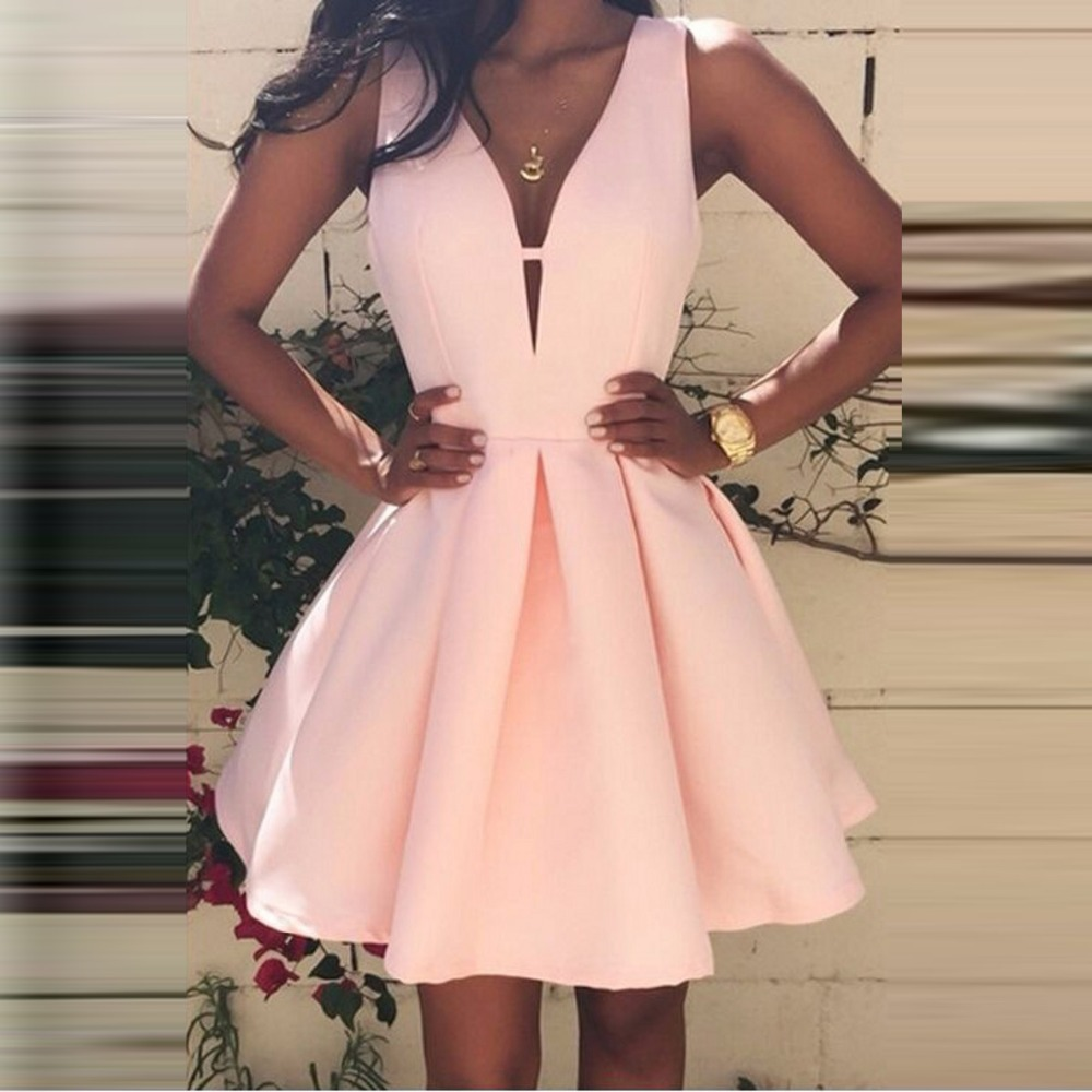 simple satin robe de   cocktail   courte Pink   Cocktail     Dresses   abito da   cocktail   V Neckline   Cocktail   Gown 2019