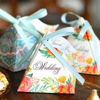 50 pcs Projeto Da Flor de Corte A Laser Caixa de Doces de Casamento Presentes De Casamento Para Convidados Favores E Presentes Do Casamento Decorações Do Partido