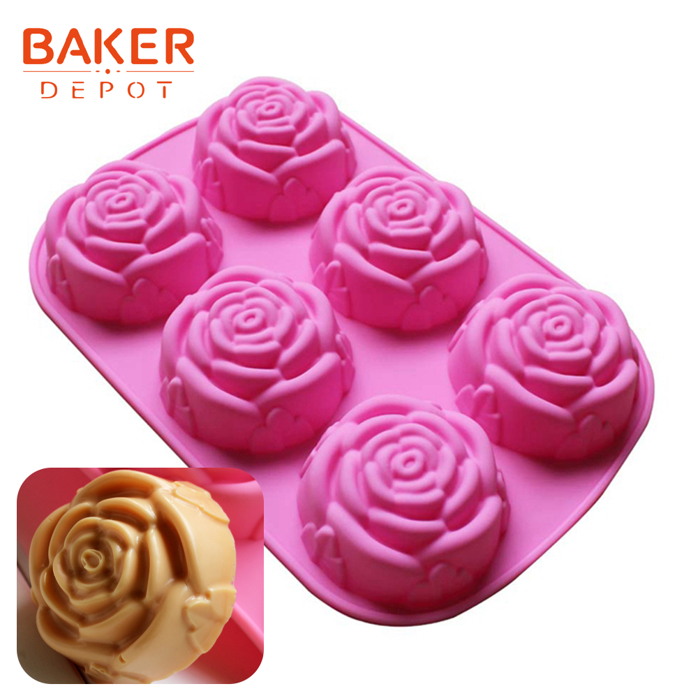 Meigold Christmas Mould Rose Shape DIY Handmade 3D Chocolate Cake Biscuit Soap Candle Ice Mould Silicone Mould