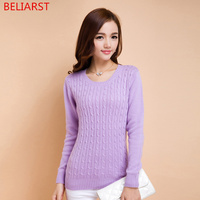 BELIARST New winter lady twist round neck Cashmere Sweater thick hedging bottoming Female Sweater knitted Sweaters Slim pullover