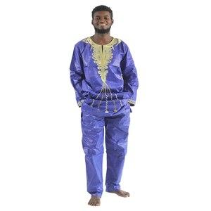Image 3 - MD 2020 แอฟริกัน Bazin Riche Mens แอฟริกันแบบดั้งเดิมเสื้อผ้าเสื้อผ้าแขนยาวกางเกงชุด afrikanische herrenbekleidung PH47