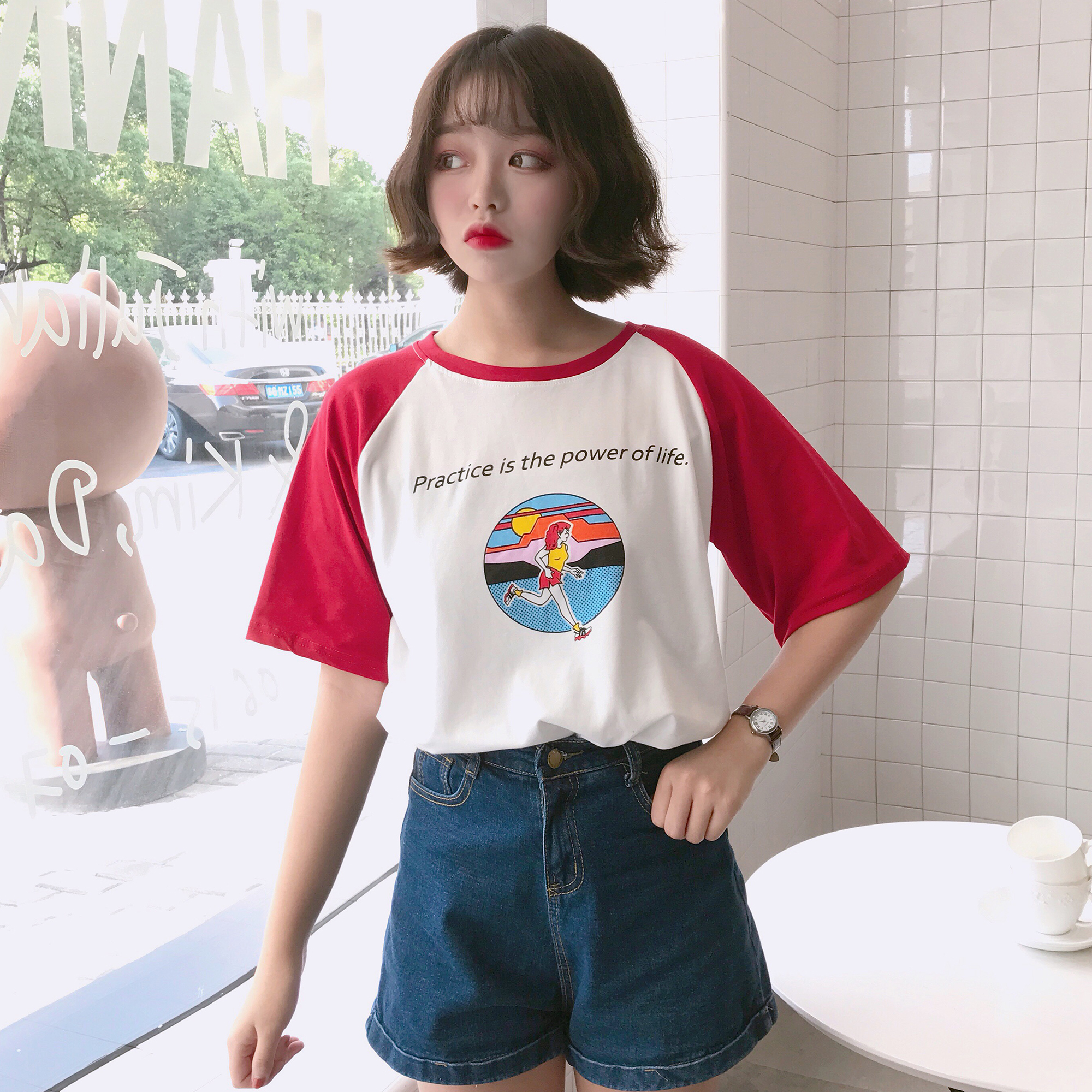 2017 Summer New Character Letter Printed Cute Loose Causal All Match Short Sleeve Female T-shirts