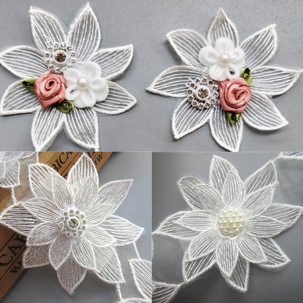 10x White Lotus Flower Diamond Bead Lace Edge Trim Ribbon Fabric