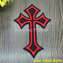 Nova chegada 10 pçs vermelho com preto cruz dos desenhos animados bordados remendos de ferro em desenhos animados motivo bx apliques bordado acessório 201501