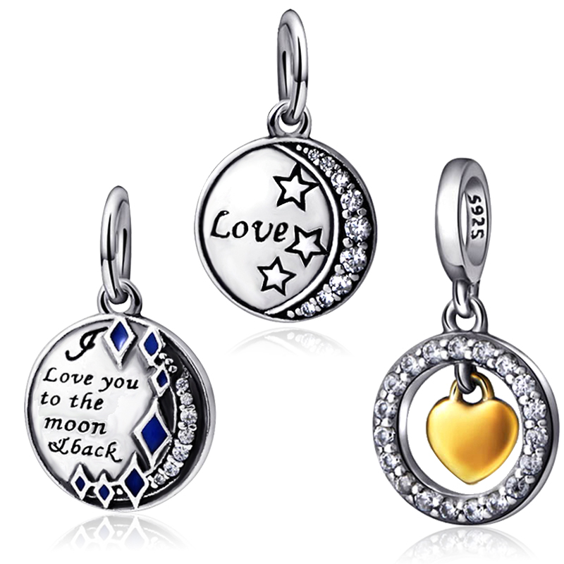 Round Pendant Fit Original pandora Charms Beads Bracelets 2017 New Style Star heart Sterling Silver 925 Beads For Women Gift