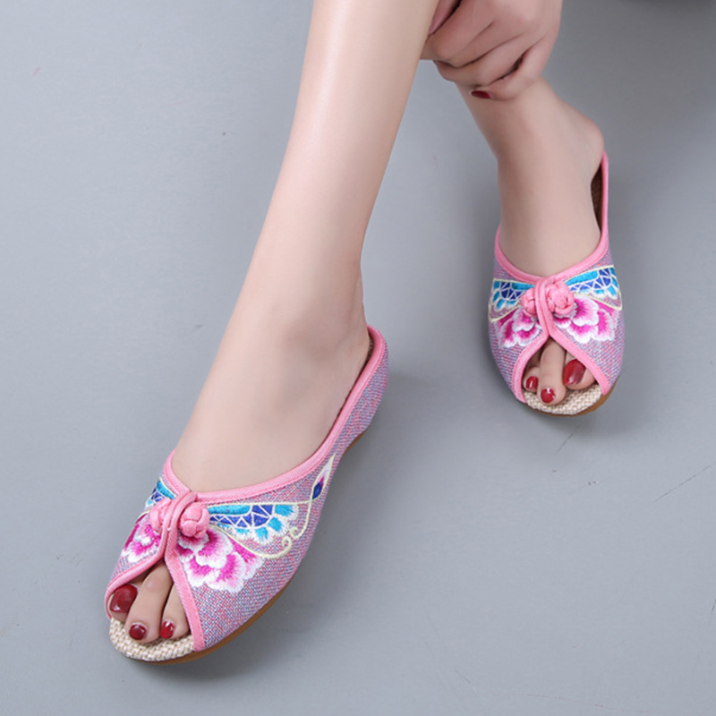 Summer Retro embroidery shoes women slippers peep toe home slippers oxfords shoes women slides Flip flops