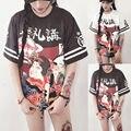 Japanese girl clothing tops solto maxi das mulheres t-shirt do estudante adolescente carta de manga curta encabeça mulheres