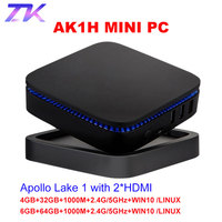 AK1 Win10 LINUX MINI PC Intel Apollo Lake Celeron J3455 4G 32G 6G 64G 2.4G/5G Dual WIFI BT4.0 WIFI 4K HDMI*2 Windows 10 TV Box