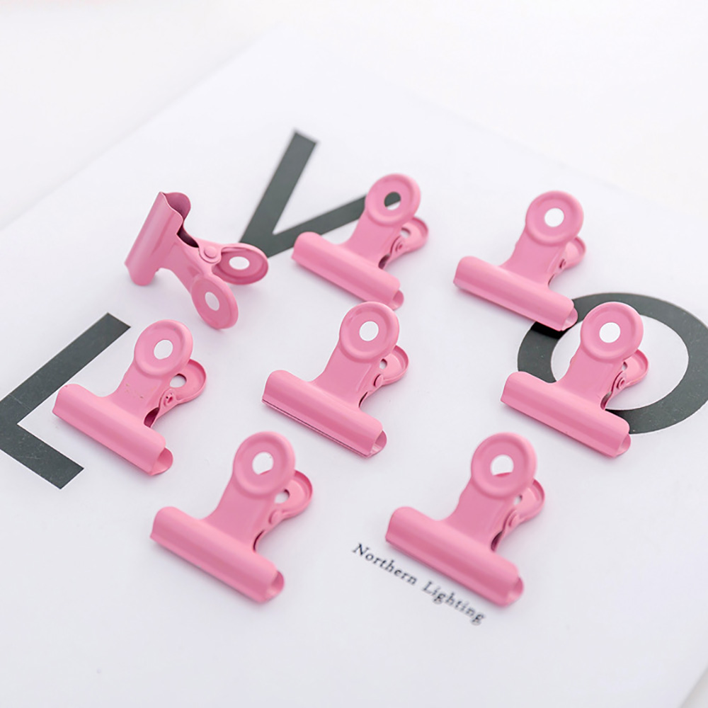 5pcs/lot Cute Pink Metal Binder Clips Folder Notes Letter Paper Clip Clamp Chancery School Office Binding Supplies Accessories