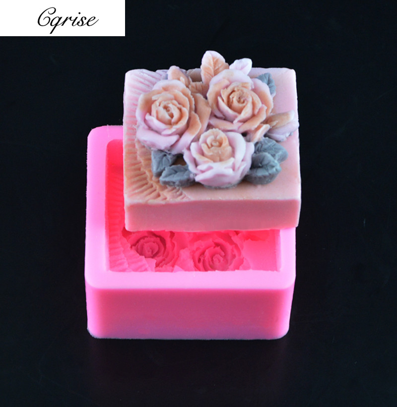 Flower Soap Mold Square Silicone Candle Mold Soap Making Mould DIY Handmade Mold