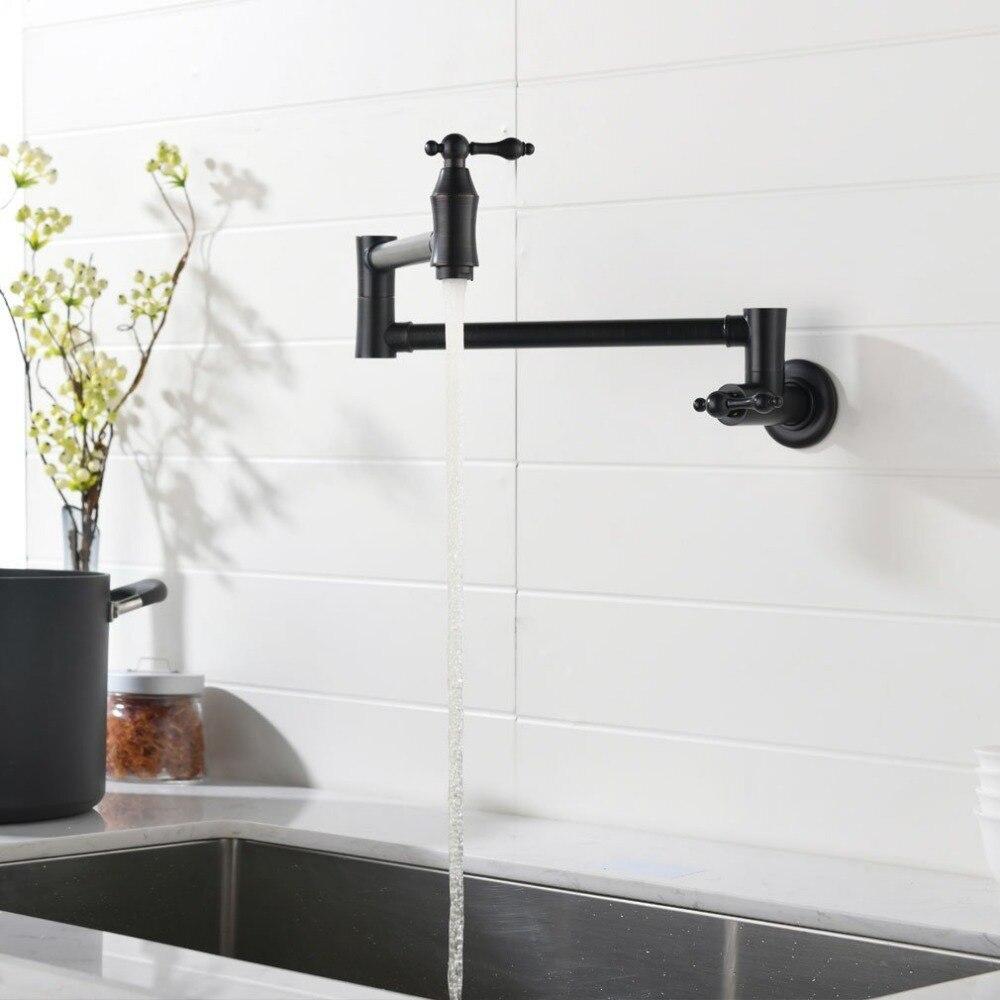 2018 Dual Holder Wall Mount Kitchen Faucet Kitchen Brass: Wall Mount Pot Filler, 2 Handles Brass Kitchen Faucet