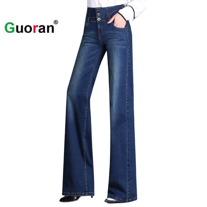 {Guoran} High waist loose denim jeans pants for women 2017 new washed blue wide leg jeans trousers plus size 33 32 fashion pant plus size casual loose wide leg pants summer new women s boyfriend spliced holes blue jeans high waist ankle length trousers