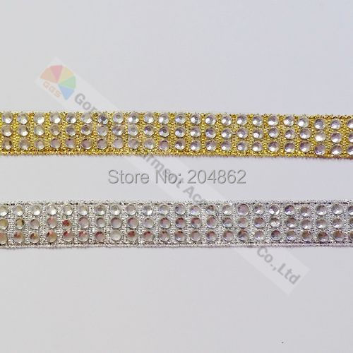10yards 3 row Silver Gold Tape clear crystal diamante rhinestone ribbon  banding DIY Browbands Garment Wedding Shoes Accessories edba3ce5695e