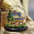DIY 3D Wooden Miniature Dollhouse 3D Mini DIY cottage Model For Children Toys Christmas Birthday Gift & Dust cover