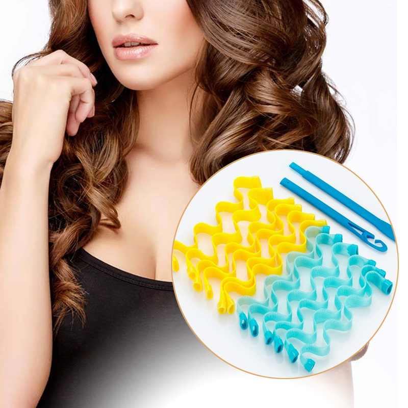 12pcs New Magic Hair Curlers DIY Hair Salon Curlers Rollers Tool Soft Large Hairdressing Tools 45cm x 2.5cm