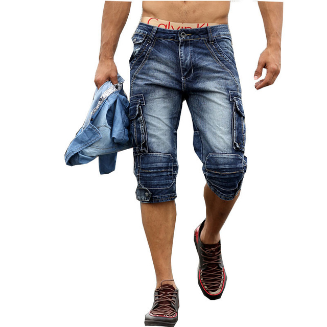 Men's jeans 7 points pants washed multi-bag shorts Korean casual Slim straight pants loose cotton men's pants Size 36 40