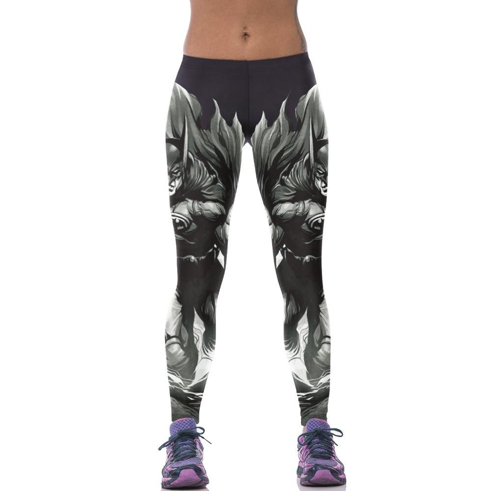 2016 New 10 Patterns Batman Printing Women Bodybuilding Sport Plus Size Black Pants Pink Blue Swirl Running Leggings